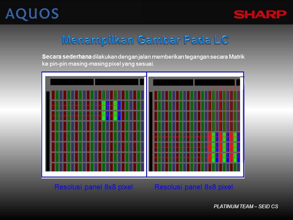 Secara sederhana dilakukan dengan jalan memberikan tegangan secara Matrik ke pin-pin masing-masing pixel yang sesuai. PLATINUM TEAM – SEID CS Resolusi