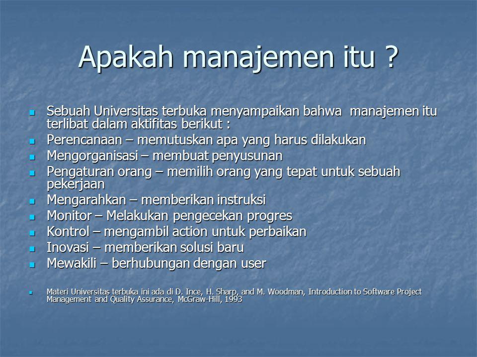 Apakah manajemen itu ? Sebuah Universitas terbuka menyampaikan bahwa manajemen itu terlibat dalam aktifitas berikut : Sebuah Universitas terbuka menya