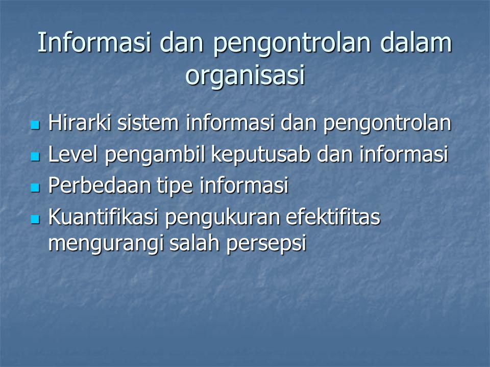 Informasi dan pengontrolan dalam organisasi Hirarki sistem informasi dan pengontrolan Hirarki sistem informasi dan pengontrolan Level pengambil keputu