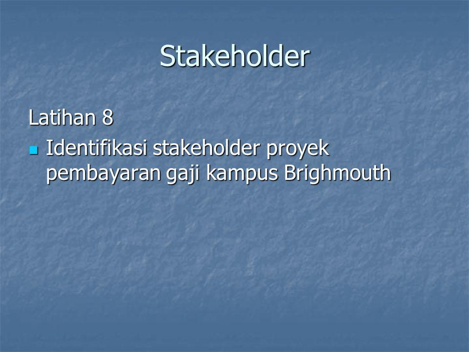 Stakeholder Latihan 8 Identifikasi stakeholder proyek pembayaran gaji kampus Brighmouth Identifikasi stakeholder proyek pembayaran gaji kampus Brighmo