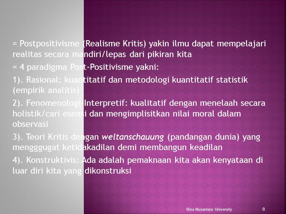 = Postpositivisme (Realisme Kritis) yakin ilmu dapat mempelajari realitas secara mandiri/lepas dari pikiran kita = 4 paradigma Post-Positivisme yakni: