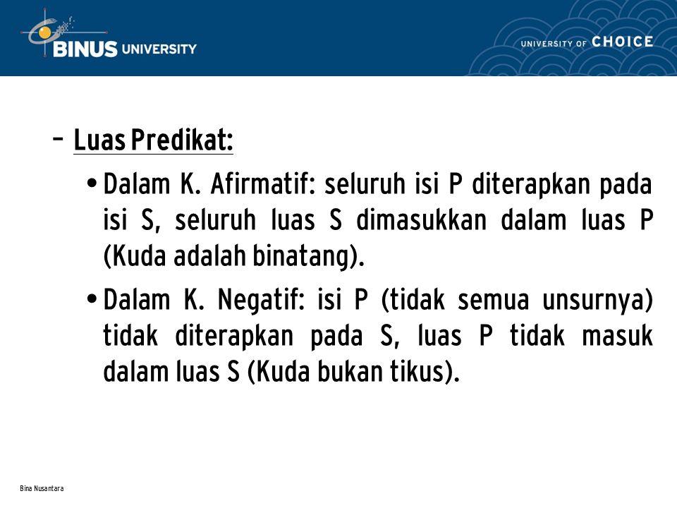 Bina Nusantara – Luas Predikat: Dalam K. Afirmatif: seluruh isi P diterapkan pada isi S, seluruh luas S dimasukkan dalam luas P (Kuda adalah binatang)