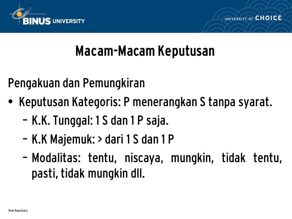 Bina Nusantara Macam-Macam Keputusan Pengakuan dan Pemungkiran Keputusan Kategoris: P menerangkan S tanpa syarat. – K.K. Tunggal: 1 S dan 1 P saja. –