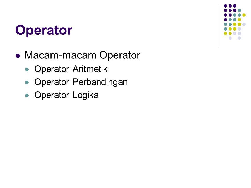 Operator Macam-macam Operator Operator Aritmetik Operator Perbandingan Operator Logika