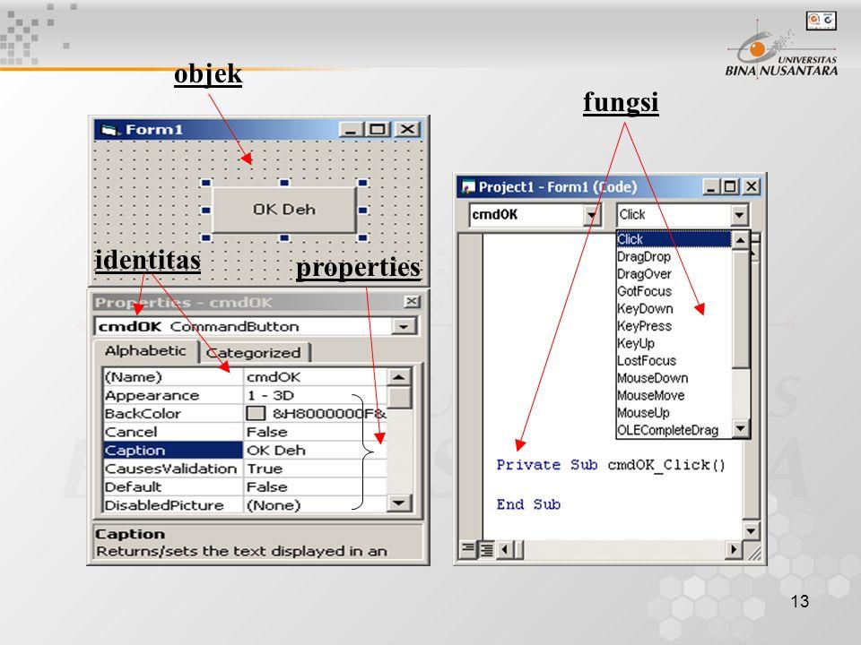 13 objek identitas properties fungsi