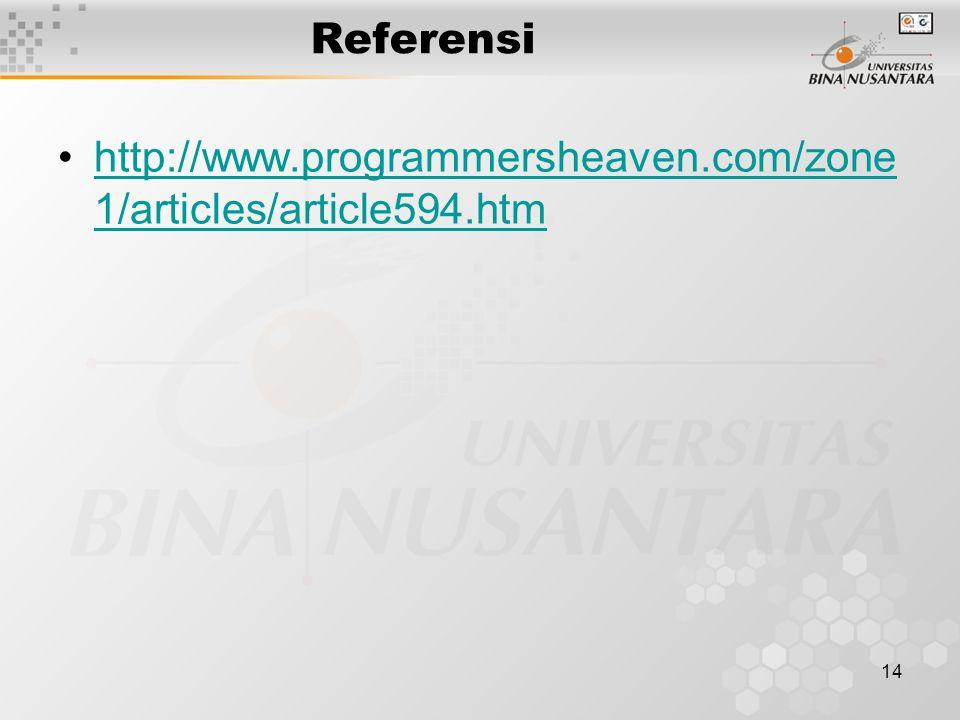 14 Referensi http://www.programmersheaven.com/zone 1/articles/article594.htmhttp://www.programmersheaven.com/zone 1/articles/article594.htm