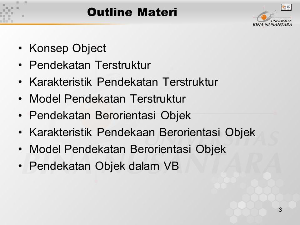 3 Outline Materi Konsep Object Pendekatan Terstruktur Karakteristik Pendekatan Terstruktur Model Pendekatan Terstruktur Pendekatan Berorientasi Objek Karakteristik Pendekaan Berorientasi Objek Model Pendekatan Berorientasi Objek Pendekatan Objek dalam VB
