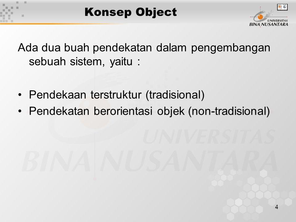 4 Konsep Object Ada dua buah pendekatan dalam pengembangan sebuah sistem, yaitu : Pendekaan terstruktur (tradisional) Pendekatan berorientasi objek (non-tradisional)