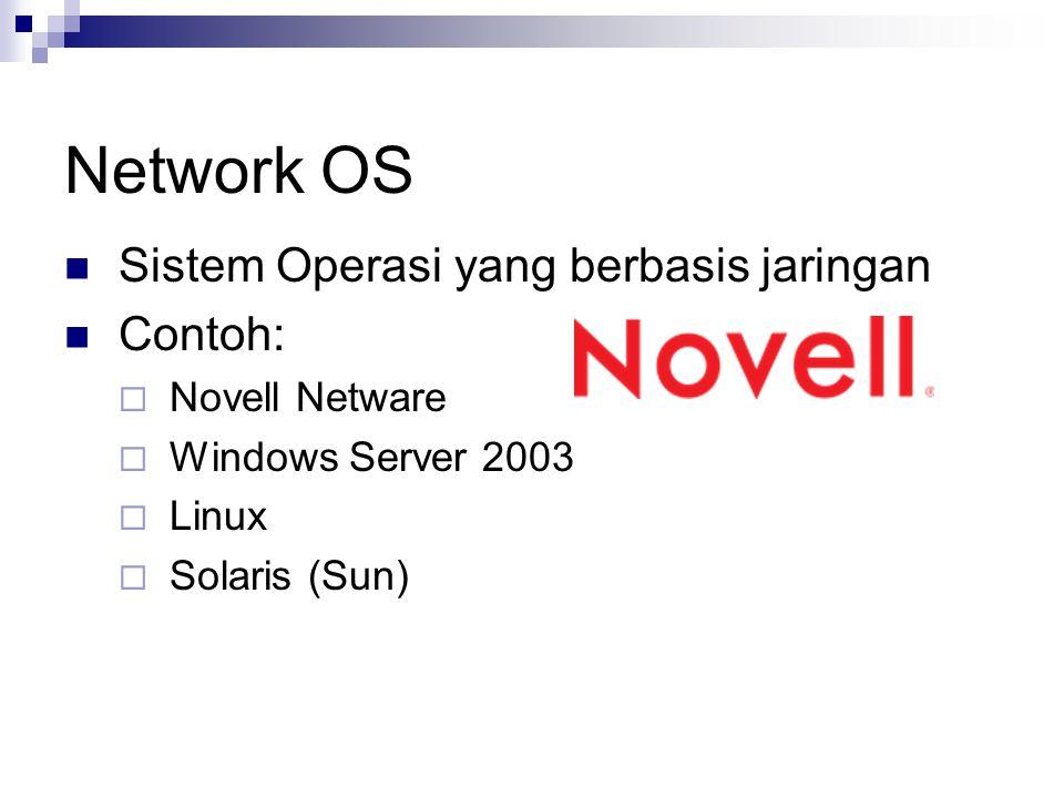 Network OS Sistem Operasi yang berbasis jaringan Contoh:  Novell Netware  Windows Server 2003  Linux  Solaris (Sun)