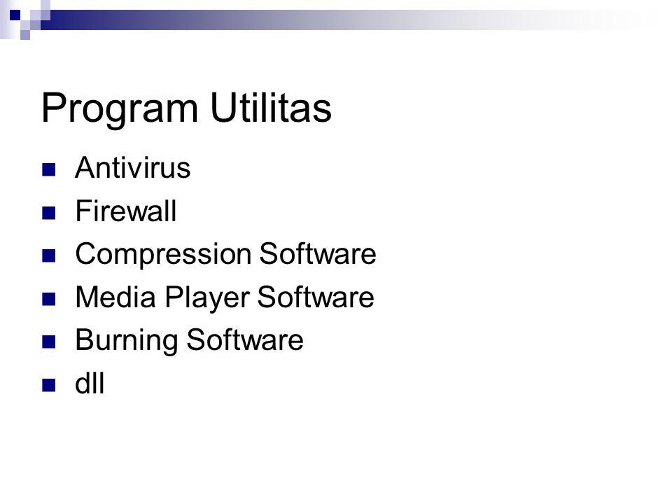 Program Utilitas Antivirus Firewall Compression Software Media Player Software Burning Software dll