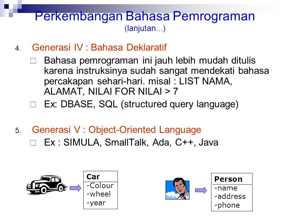 Perkembangan Bahasa Pemrograman (lanjutan...) 4. Generasi IV : Bahasa Deklaratif  Bahasa pemrograman ini jauh lebih mudah ditulis karena instruksinya