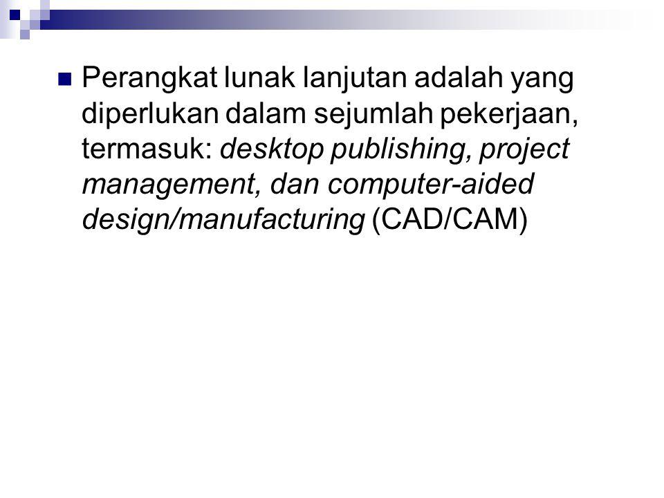 Perangkat lunak lanjutan adalah yang diperlukan dalam sejumlah pekerjaan, termasuk: desktop publishing, project management, dan computer-aided design/