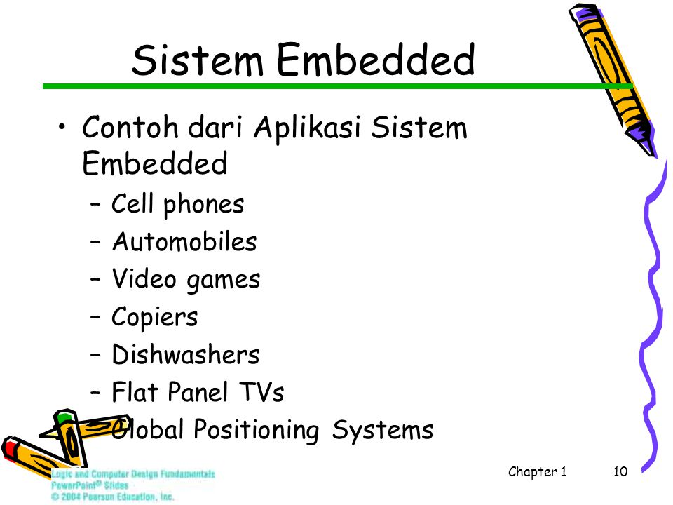 Sistem Embedded Contoh dari Aplikasi Sistem Embedded –Cell phones –Automobiles –Video games –Copiers –Dishwashers –Flat Panel TVs –Global Positioning Systems Chapter 1 10