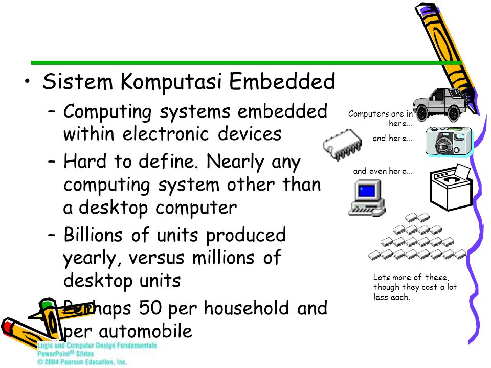 Sistem Komputasi Embedded –Computing systems embedded within electronic devices –Hard to define. Nearly any computing system other than a desktop comp