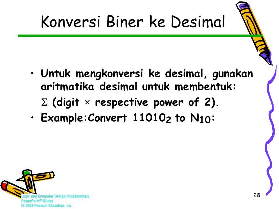 28 Untuk mengkonversi ke desimal, gunakan aritmatika desimal untuk membentuk:  (digit × respective power of 2).