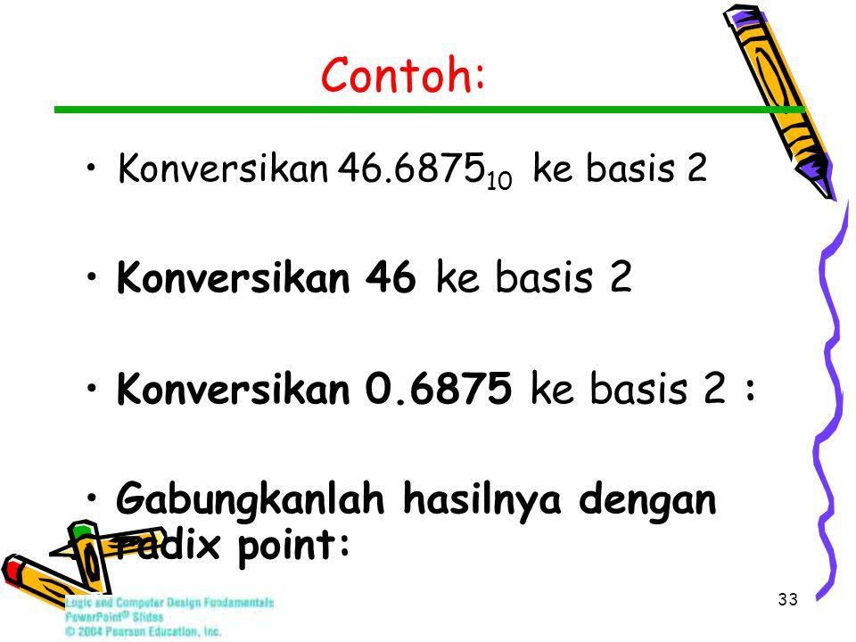 33 Contoh: Konversikan 46.6875 10 ke basis 2 Konversikan 46 ke basis 2 Konversikan 0.6875 ke basis 2 : Gabungkanlah hasilnya dengan radix point:
