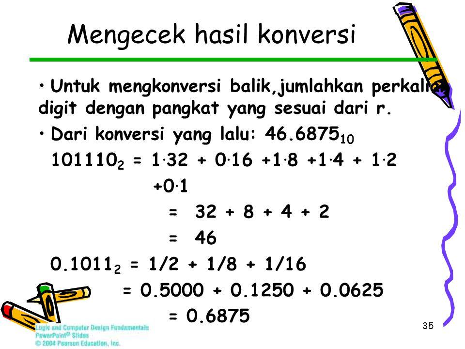35 Mengecek hasil konversi Untuk mengkonversi balik,jumlahkan perkalian digit dengan pangkat yang sesuai dari r.