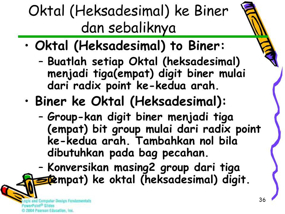 36 Oktal (Heksadesimal) ke Biner dan sebaliknya Oktal (Heksadesimal) to Biner: –Buatlah setiap Oktal (heksadesimal) menjadi tiga(empat) digit biner mulai dari radix point ke-kedua arah.