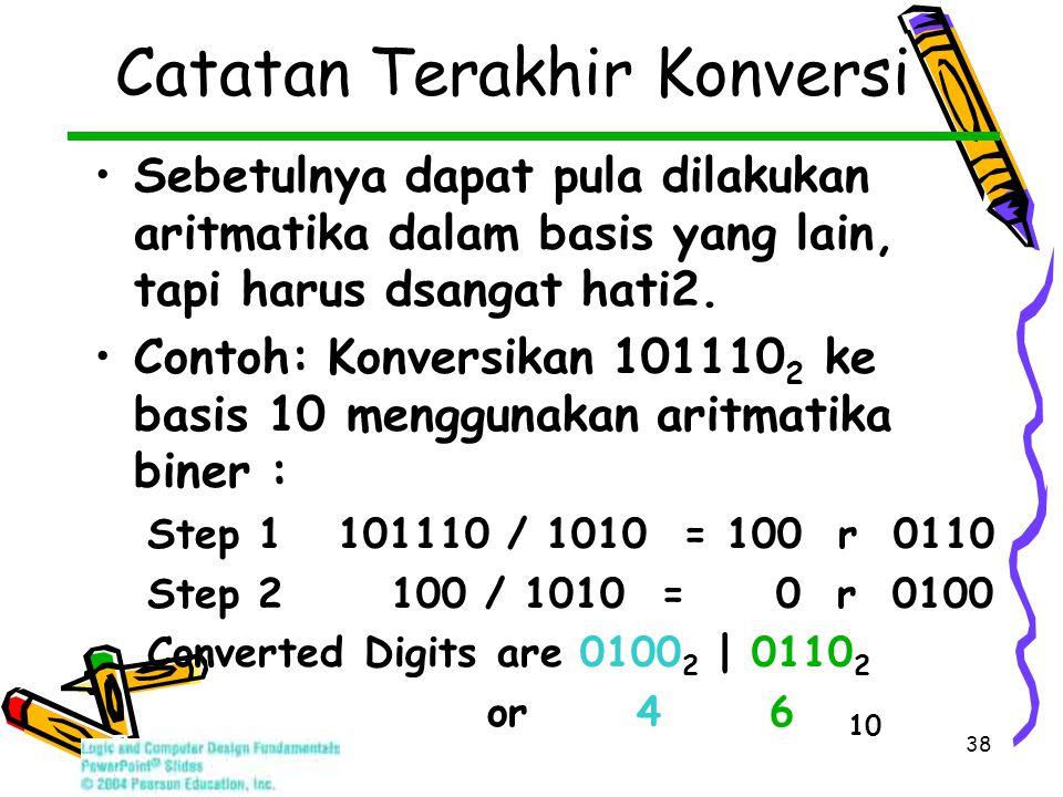 38 Catatan Terakhir Konversi Sebetulnya dapat pula dilakukan aritmatika dalam basis yang lain, tapi harus dsangat hati2.