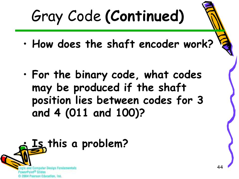 44 Gray Code (Continued) How does the shaft encoder work? For the binary code, what codes may be produced if the shaft position lies between codes for