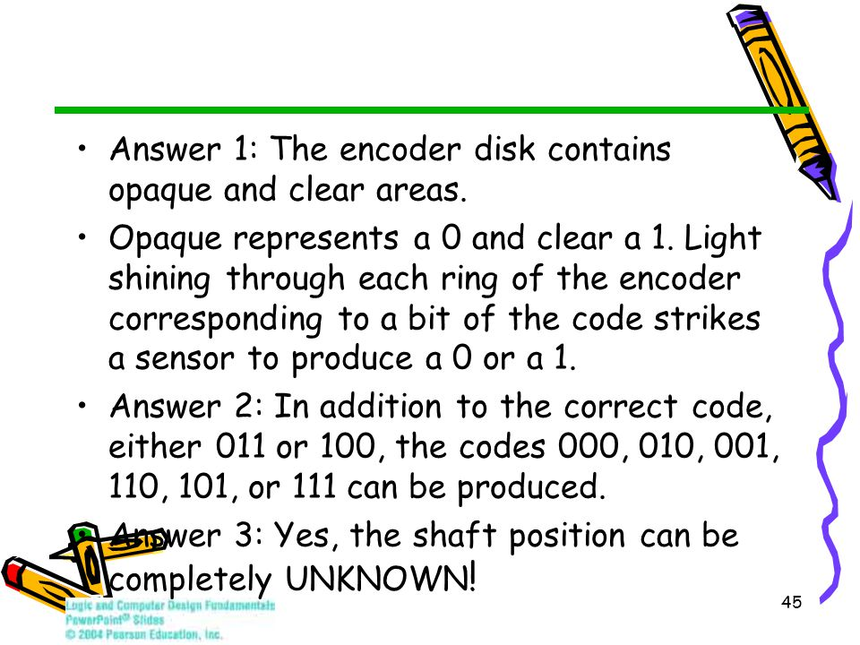 Answer 1: The encoder disk contains opaque and clear areas. Opaque represents a 0 and clear a 1. Light shining through each ring of the encoder corres