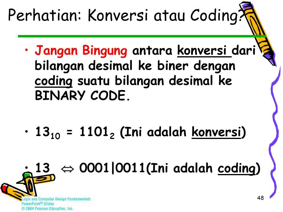 48 Perhatian: Konversi atau Coding.