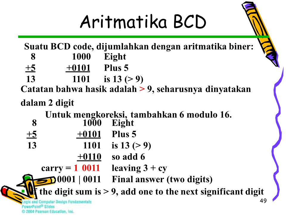 49 Aritmatika BCD Suatu BCD code, dijumlahkan dengan aritmatika biner: 81000 Eight +5 +0101 Plus 5 13 1101 is 13 (> 9) Catatan bahwa hasik adalah > 9, seharusnya dinyatakan dalam 2 digit Untuk mengkoreksi, tambahkan 6 modulo 16.