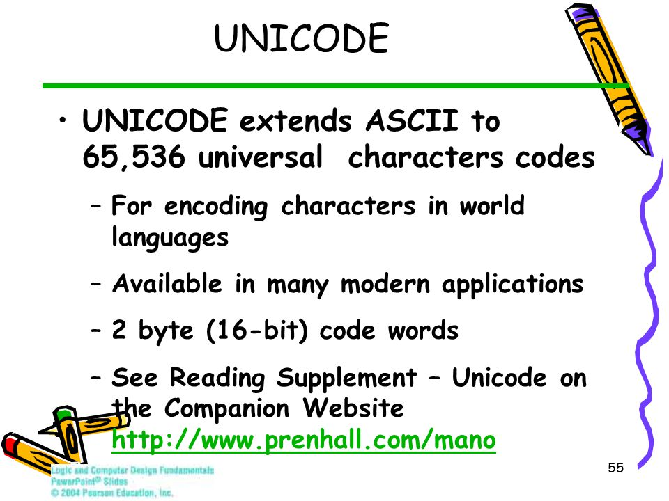 55 UNICODE UNICODE extends ASCII to 65,536 universal characters codes –For encoding characters in world languages –Available in many modern applications –2 byte (16-bit) code words –See Reading Supplement – Unicode on the Companion Website http://www.prenhall.com/mano http://www.prenhall.com/mano