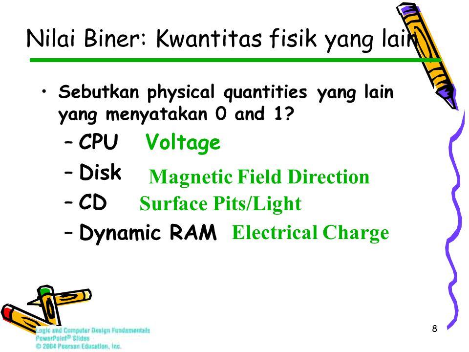 8 Sebutkan physical quantities yang lain yang menyatakan 0 and 1.