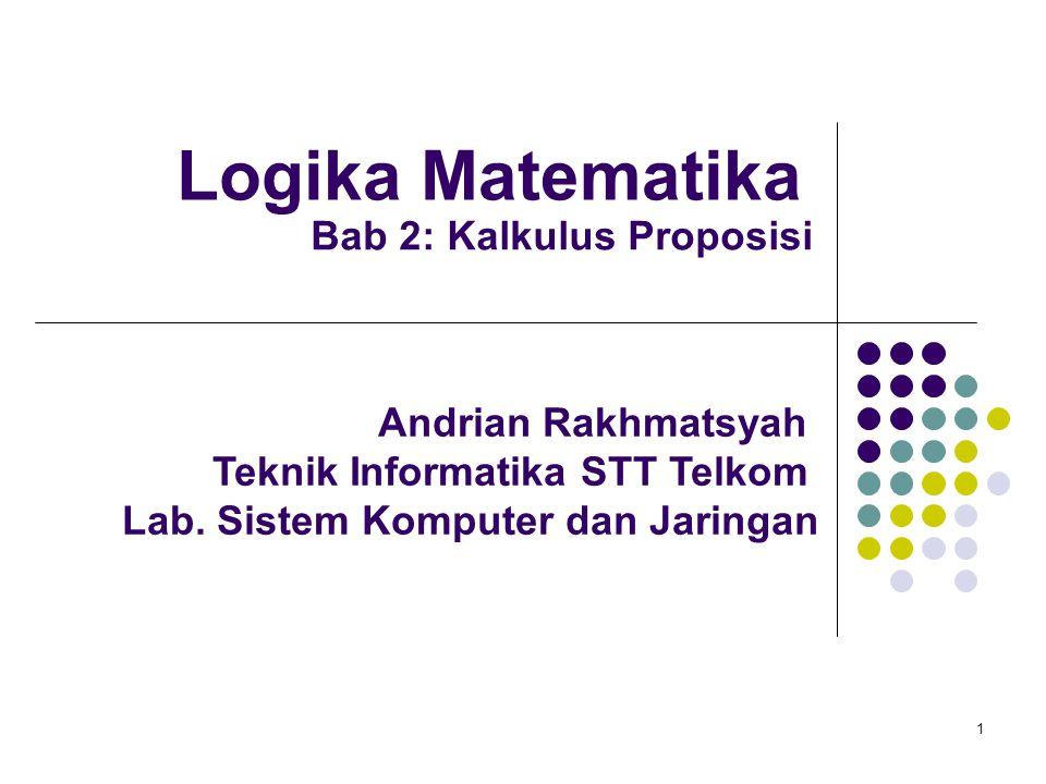 1 Logika Matematika Andrian Rakhmatsyah Teknik Informatika STT Telkom Lab. Sistem Komputer dan Jaringan Bab 2: Kalkulus Proposisi