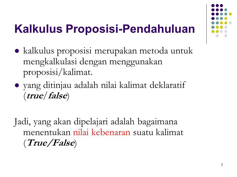 2 Kalkulus Proposisi-Pendahuluan kalkulus proposisi merupakan metoda untuk mengkalkulasi dengan menggunakan proposisi/kalimat. yang ditinjau adalah ni