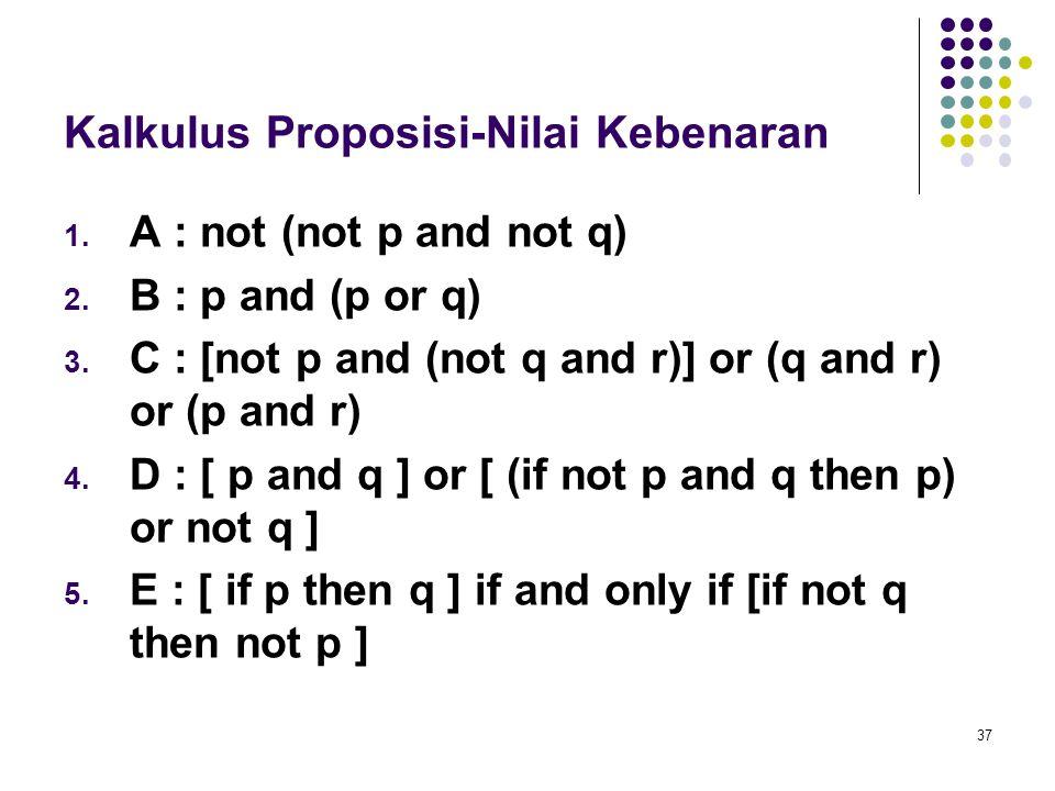 37 Kalkulus Proposisi-Nilai Kebenaran 1. A : not (not p and not q) 2. B : p and (p or q) 3. C : [not p and (not q and r)] or (q and r) or (p and r) 4.