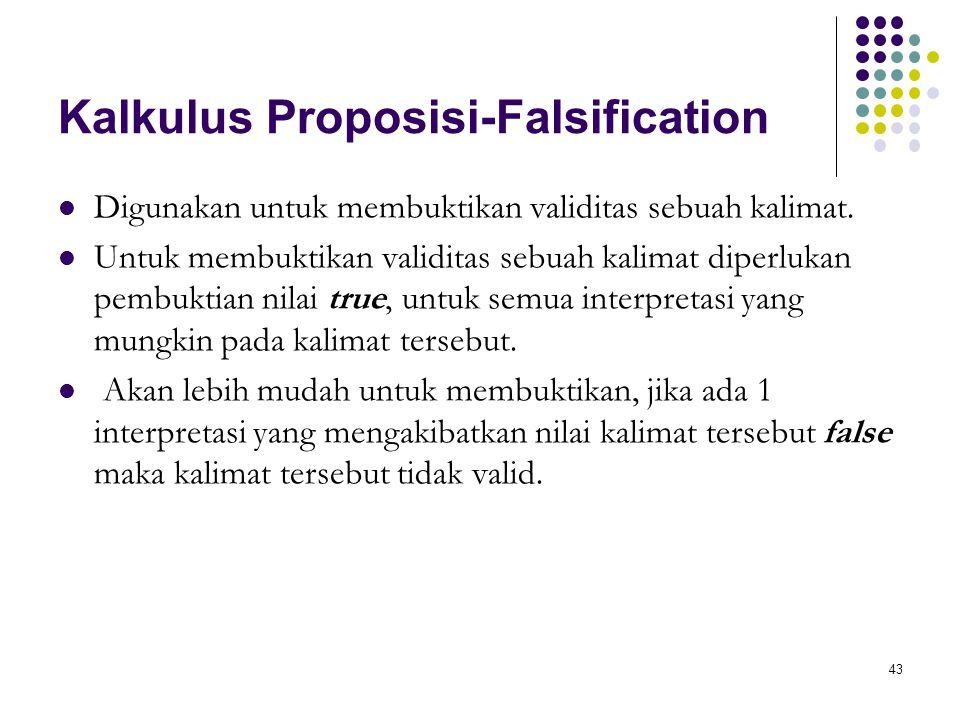 43 Kalkulus Proposisi-Falsification Digunakan untuk membuktikan validitas sebuah kalimat. Untuk membuktikan validitas sebuah kalimat diperlukan pembuk