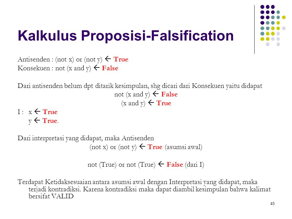 45 Kalkulus Proposisi-Falsification Antisenden : (not x) or (not y)  True Konsekuen : not (x and y)  False Dari antisenden belum dpt ditarik kesimpulan, shg dicari dari Konsekuen yaitu didapat not (x and y)  False (x and y)  True I : x  True y  True.
