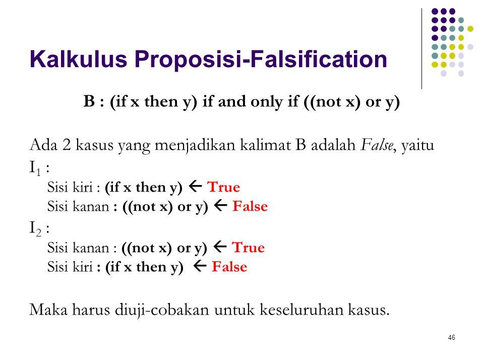 46 Kalkulus Proposisi-Falsification B : (if x then y) if and only if ((not x) or y) Ada 2 kasus yang menjadikan kalimat B adalah False, yaitu I 1 : Sisi kiri : (if x then y)  True Sisi kanan : ((not x) or y)  False I 2 : Sisi kanan : ((not x) or y)  True Sisi kiri : (if x then y)  False Maka harus diuji-cobakan untuk keseluruhan kasus.