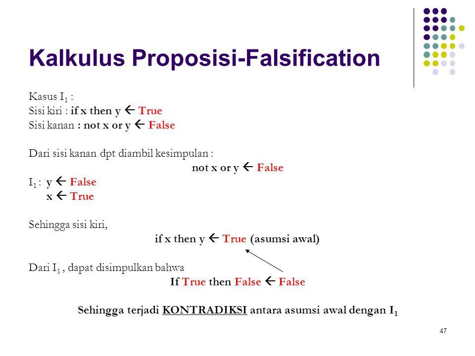 47 Kalkulus Proposisi-Falsification Kasus I 1 : Sisi kiri : if x then y  True Sisi kanan : not x or y  False Dari sisi kanan dpt diambil kesimpulan : not x or y  False I 1 : y  False x  True Sehingga sisi kiri, if x then y  True (asumsi awal) Dari I 1, dapat disimpulkan bahwa If True then False  False Sehingga terjadi KONTRADIKSI antara asumsi awal dengan I 1