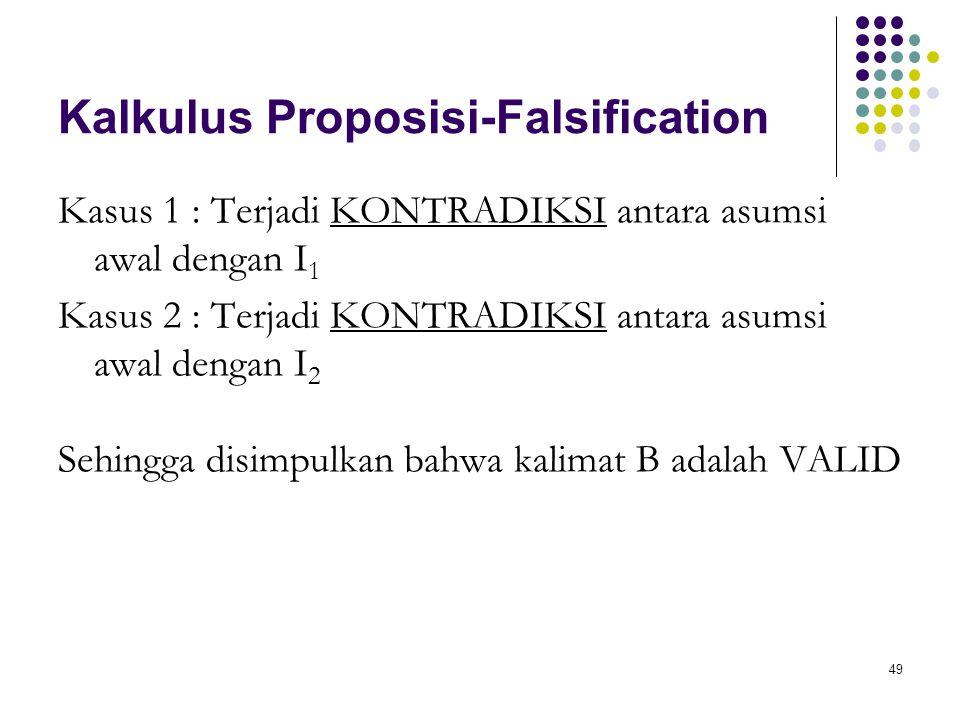 49 Kalkulus Proposisi-Falsification Kasus 1 : Terjadi KONTRADIKSI antara asumsi awal dengan I 1 Kasus 2 : Terjadi KONTRADIKSI antara asumsi awal dengan I 2 Sehingga disimpulkan bahwa kalimat B adalah VALID