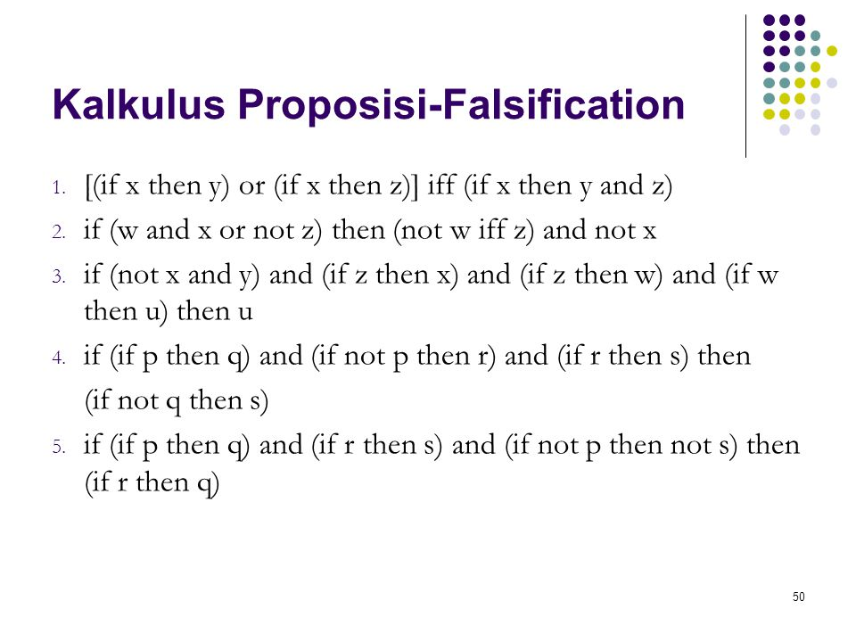 50 Kalkulus Proposisi-Falsification 1. [(if x then y) or (if x then z)] iff (if x then y and z) 2. if (w and x or not z) then (not w iff z) and not x