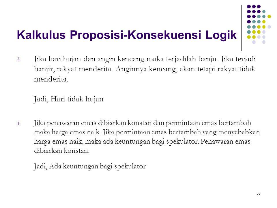 56 Kalkulus Proposisi-Konsekuensi Logik 3.
