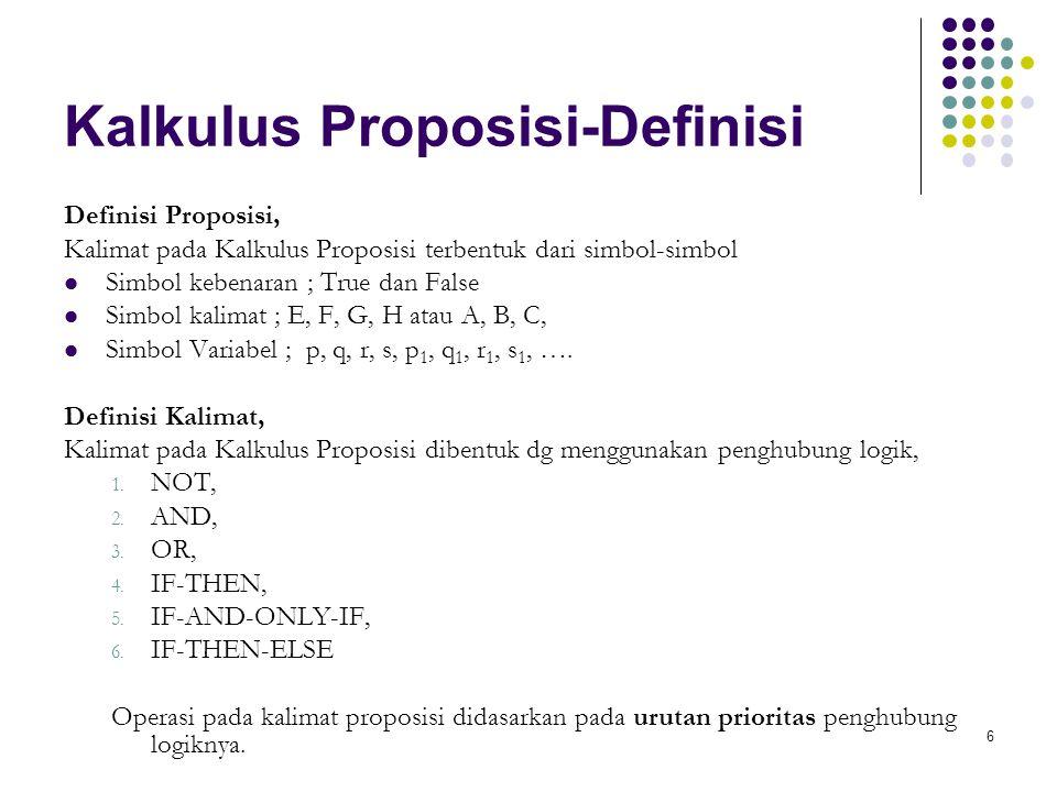 6 Kalkulus Proposisi-Definisi Definisi Proposisi, Kalimat pada Kalkulus Proposisi terbentuk dari simbol-simbol Simbol kebenaran ; True dan False Simbol kalimat ; E, F, G, H atau A, B, C, Simbol Variabel ; p, q, r, s, p 1, q 1, r 1, s 1, ….