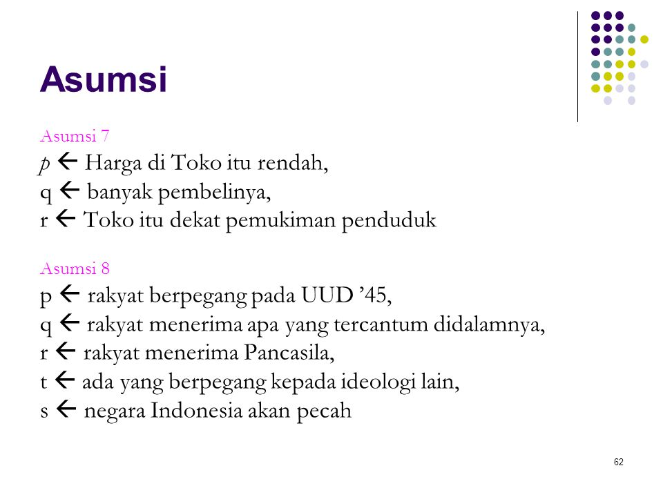 62 Asumsi Asumsi 7 p  Harga di Toko itu rendah, q  banyak pembelinya, r  Toko itu dekat pemukiman penduduk Asumsi 8 p  rakyat berpegang pada UUD '45, q  rakyat menerima apa yang tercantum didalamnya, r  rakyat menerima Pancasila, t  ada yang berpegang kepada ideologi lain, s  negara Indonesia akan pecah
