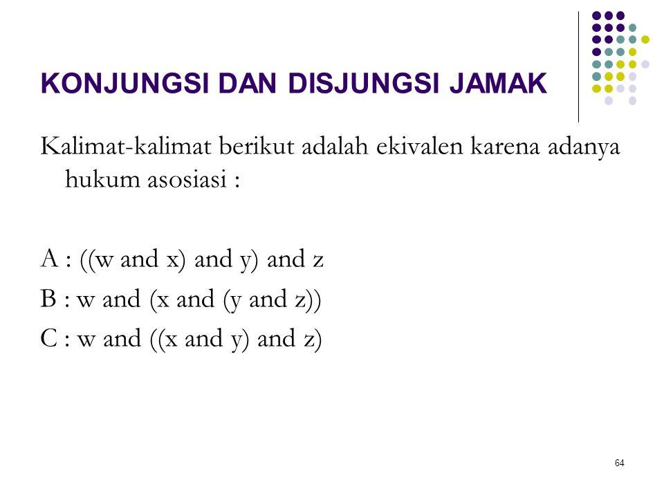 64 KONJUNGSI DAN DISJUNGSI JAMAK Kalimat-kalimat berikut adalah ekivalen karena adanya hukum asosiasi : A : ((w and x) and y) and z B : w and (x and (