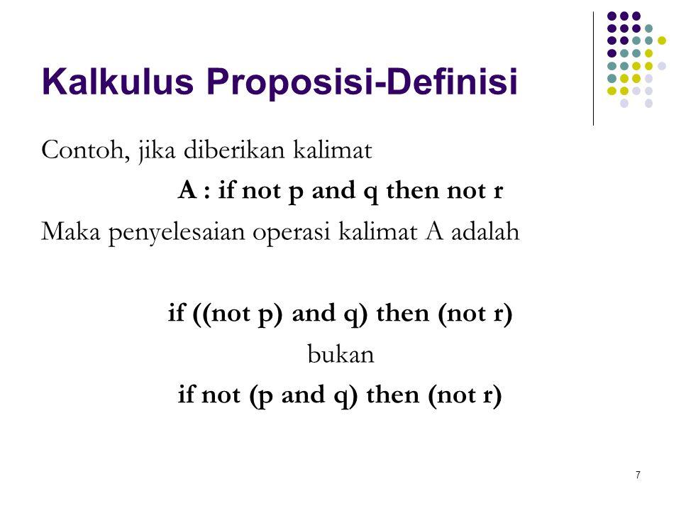 7 Kalkulus Proposisi-Definisi Contoh, jika diberikan kalimat A : if not p and q then not r Maka penyelesaian operasi kalimat A adalah if ((not p) and q) then (not r) bukan if not (p and q) then (not r)