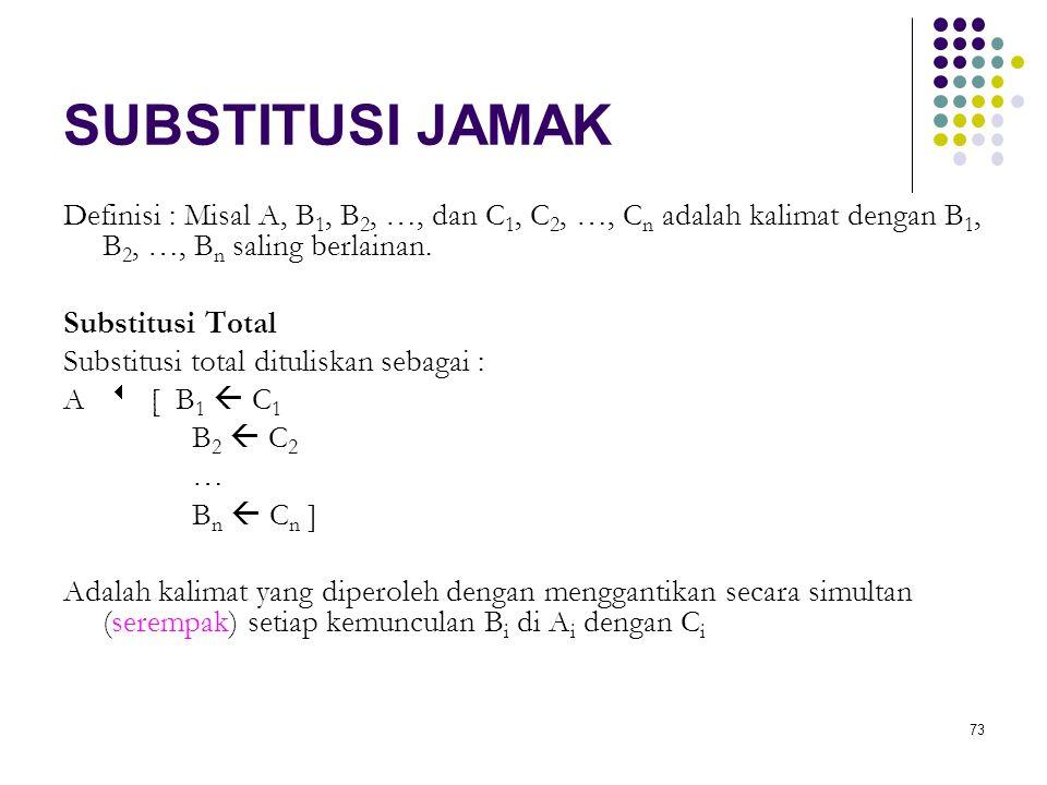 73 SUBSTITUSI JAMAK Definisi : Misal A, B 1, B 2, …, dan C 1, C 2, …, C n adalah kalimat dengan B 1, B 2, …, B n saling berlainan. Substitusi Total Su