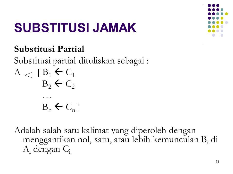 74 SUBSTITUSI JAMAK Substitusi Partial Substitusi partial dituliskan sebagai : A[ B 1  C 1 B 2  C 2 … B n  C n ] Adalah salah satu kalimat yang diperoleh dengan menggantikan nol, satu, atau lebih kemunculan B i di A i dengan C i