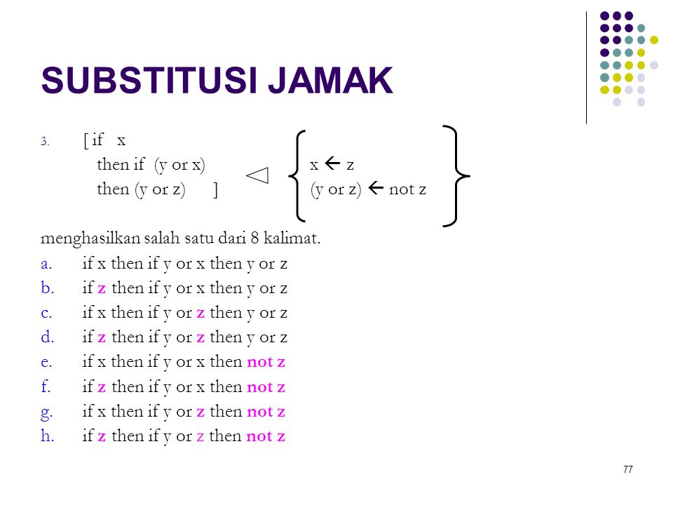 77 SUBSTITUSI JAMAK 3. [ if x then if (y or x)x  z then (y or z) ](y or z)  not z menghasilkan salah satu dari 8 kalimat. a.if x then if y or x then