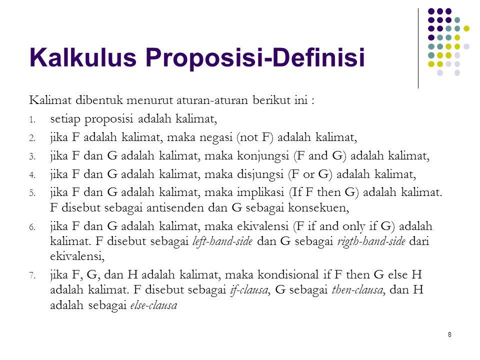 8 Kalkulus Proposisi-Definisi Kalimat dibentuk menurut aturan-aturan berikut ini : 1. setiap proposisi adalah kalimat, 2. jika F adalah kalimat, maka