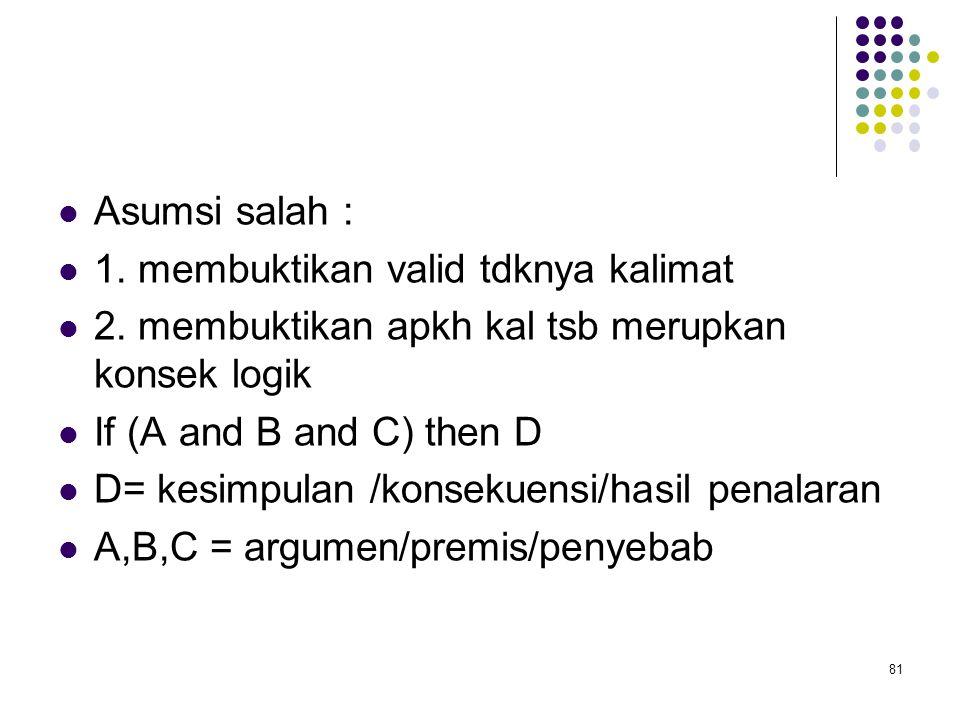 Asumsi salah : 1. membuktikan valid tdknya kalimat 2. membuktikan apkh kal tsb merupkan konsek logik If (A and B and C) then D D= kesimpulan /konsekue