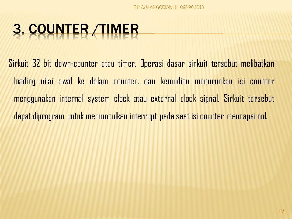 Sirkuit 32 bit down-counter atau timer. Operasi dasar sirkuit tersebut melibatkan loading nilai awal ke dalam counter, dan kemudian menurunkan isi cou