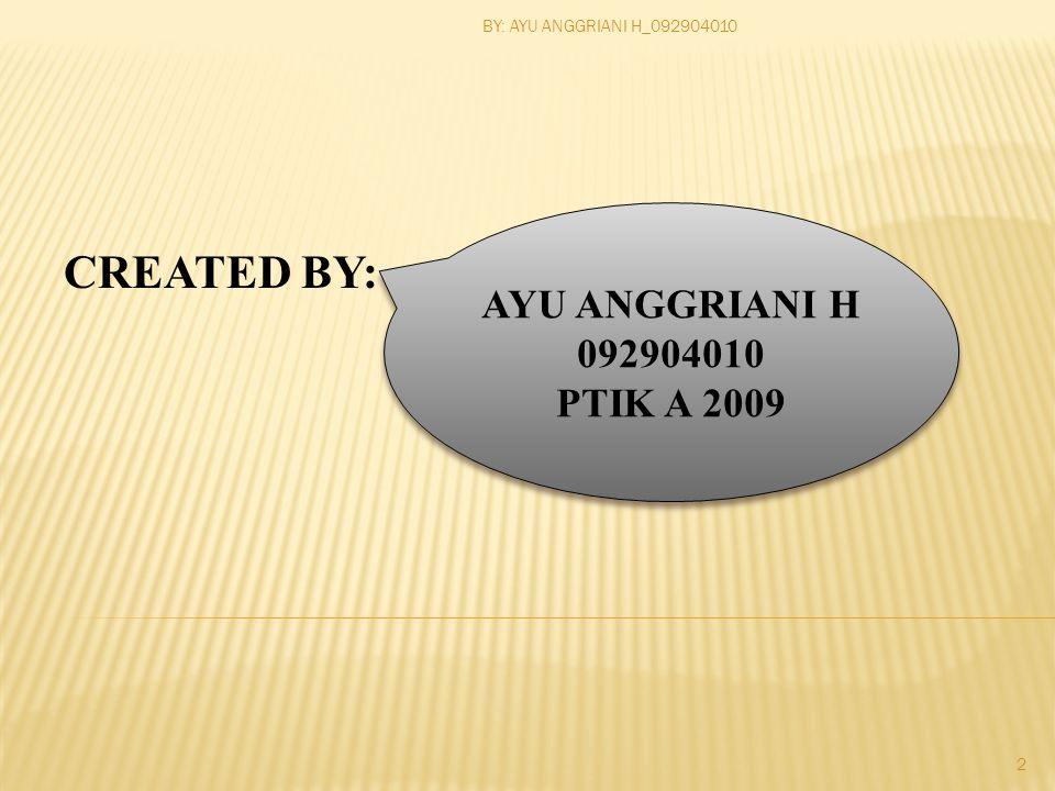 CREATED BY: AYU ANGGRIANI H 092904010 PTIK A 2009 AYU ANGGRIANI H 092904010 PTIK A 2009 2 BY: AYU ANGGRIANI H_092904010